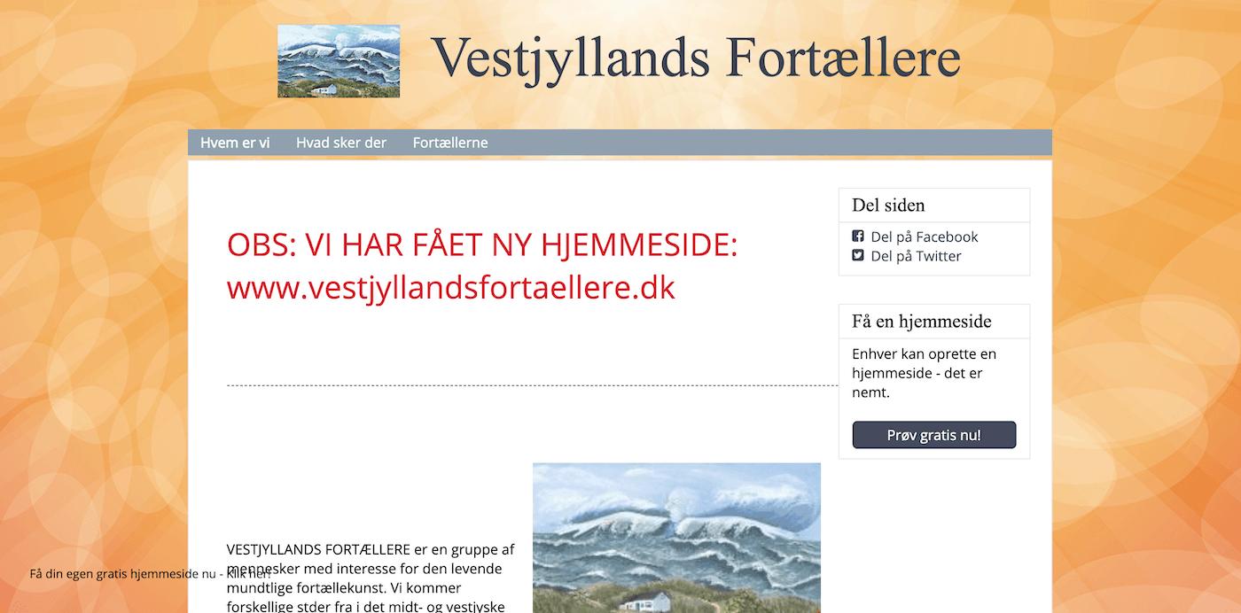 Vestjyllands Fortællere Gammel hjemmeside